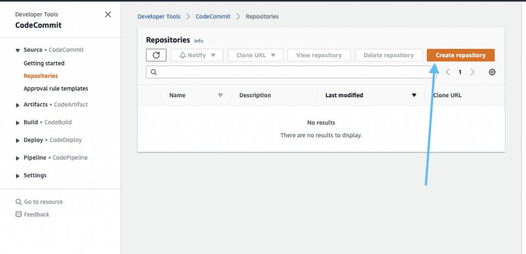 create repository button